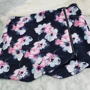 Abercrombie and Fitch Black Floral Zip Mini Skirt
